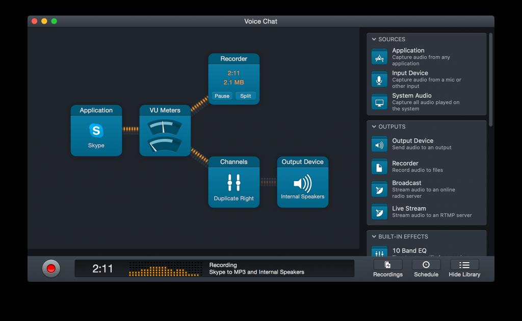 Una configuración sencilla con Audio Hijack